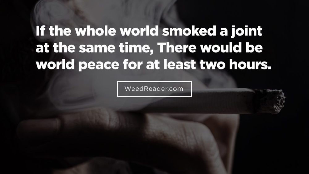 If the whole world smoked a joint at the same time There would be world peace for at least two hours