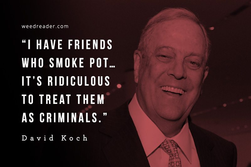 I have friends who smoke pot… It's ridiculous to treat them as criminals. David Koch