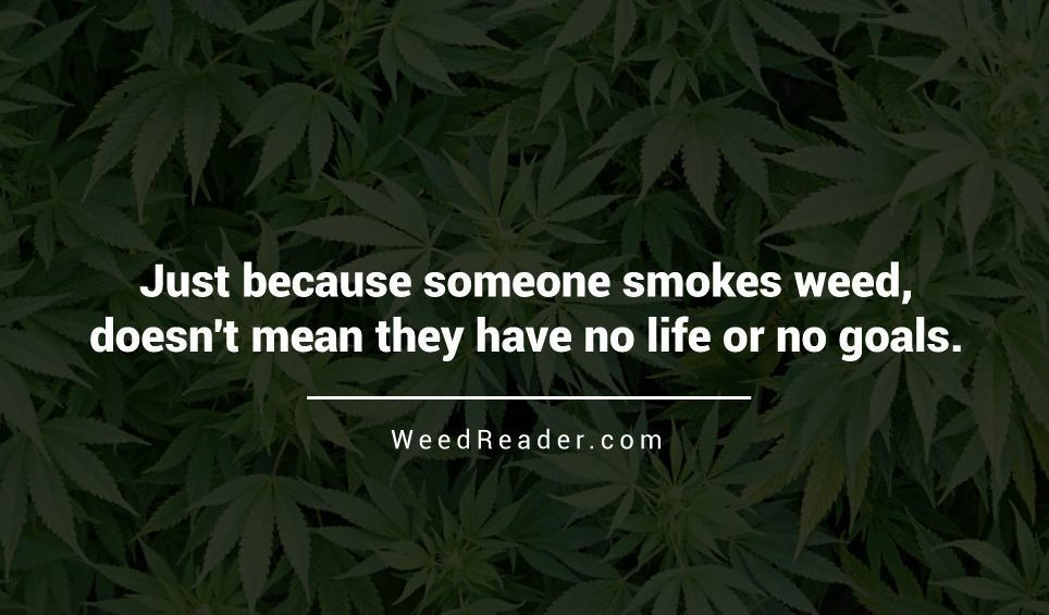 Just because someone smokes weed doesnt mean they have no life or no goals.