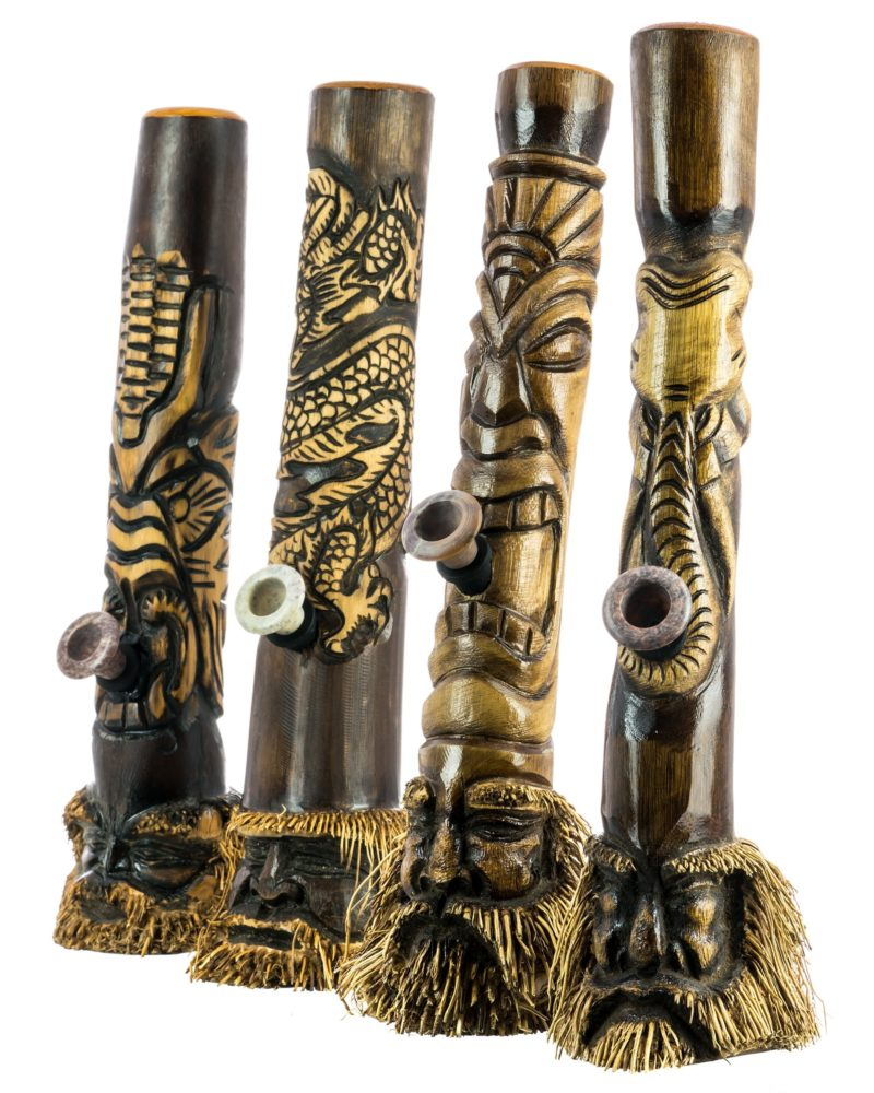 Indonesian Hand Carved Bamboo Bong Designs