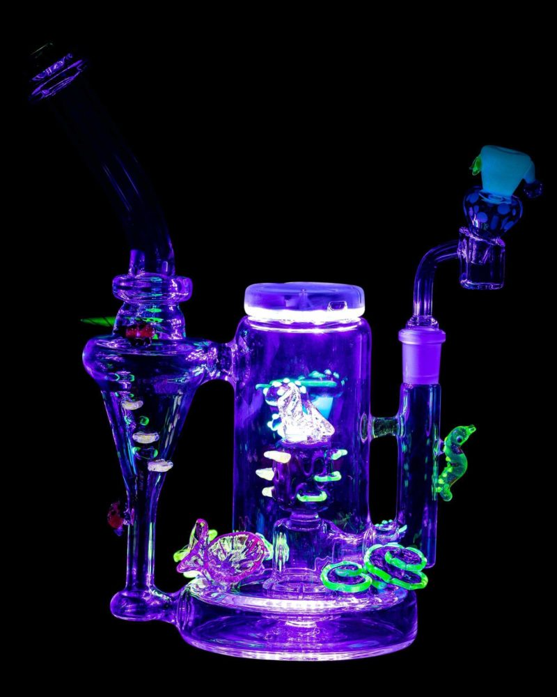 empire glassworks self illuminating forest night themed recycler dab rig eg 1979 12547119611978